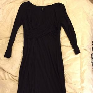 H&M faux wrap midi dress in black